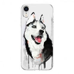 Apple iPhone XR - silikonowe etui na telefon - Pies Husky watercolor.