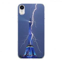 Apple iPhone XR - silikonowe etui na telefon - Wieża Eiffla z błyskawicą.