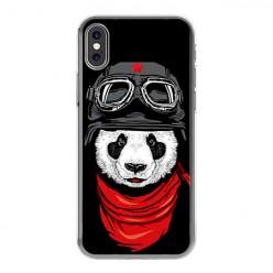 Apple iPhone Xs Max - silikonowe etui na telefon - Panda w czapce.
