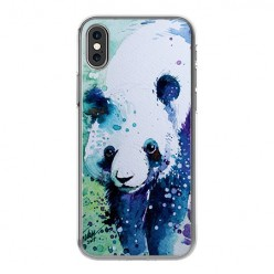 Apple iPhone Xs Max - silikonowe etui na telefon - Miś panda watercolor.