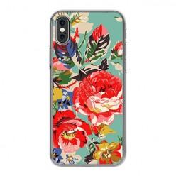 Apple iPhone Xs Max - silikonowe etui na telefon - Kolorowe róże.