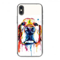 Apple iPhone Xs Max - silikonowe etui na telefon - Pies labrador watercolor.