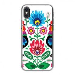 Apple iPhone Xs Max - silikonowe etui na telefon - Łowickie wzory kwiaty.