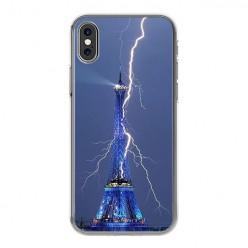 Apple iPhone Xs Max - silikonowe etui na telefon - Wieża Eiffla z błyskawicą.