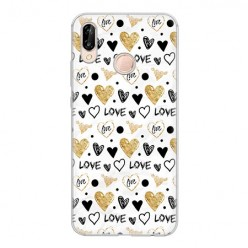 Huawei P20 Lite - silikonowe etui na telefon - Serduszka Love.