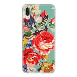 Huawei P20 Lite - silikonowe etui na telefon - Kolorowe róże.