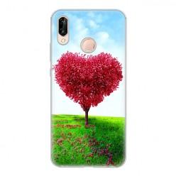 Huawei P20 Lite - silikonowe etui na telefon - Serce z drzewa.
