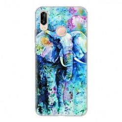 Huawei P20 Lite - silikonowe etui na telefon - Kolorowy słoń.