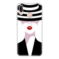 Huawei P20 Lite - silikonowe etui na telefon - Kobieta w kapeluszu.
