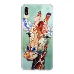 Huawei P20 Lite - silikonowe etui na telefon - Żyrafa watercolor.