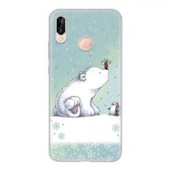 Huawei P20 Lite - silikonowe etui na telefon - Polarne zwierzaki.