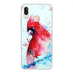 Huawei P20 Lite - silikonowe etui na telefon - Czerwona papuga watercolor.