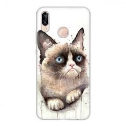 Huawei P20 Lite - silikonowe etui na telefon - Kot zrzęda watercolor.