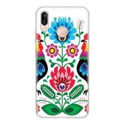 Huawei P20 Lite - silikonowe etui na telefon - Łowickie wzory kwiaty.