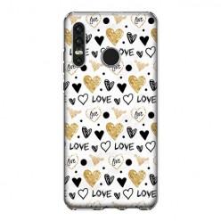 Huawei P30 Lite - silikonowe etui na telefon - Serduszka Love.