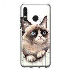 Huawei P30 Lite - silikonowe etui na telefon - Kot zrzęda watercolor.