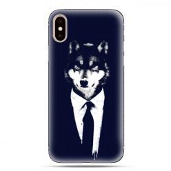 Modne etui na telefon - wilk w garniturze.
