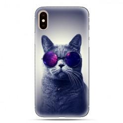 Modne etui na telefon - kot w okularach galaktyka.