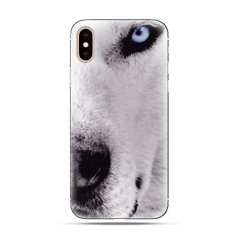 Modne etui na telefon - wilk z niebieskim okiem.