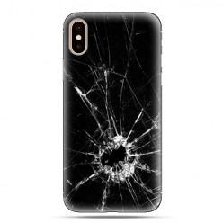 Modne etui na telefon - czarna rozbita szyba.