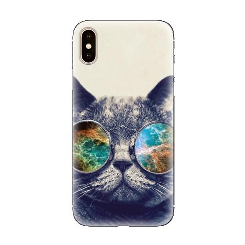 Modne etui na telefon - kot hipster w okularach.