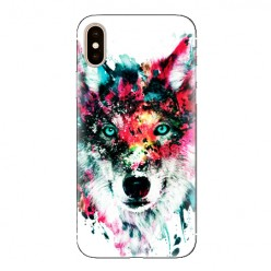 Modne etui na telefon - głowa wilka watercolor.
