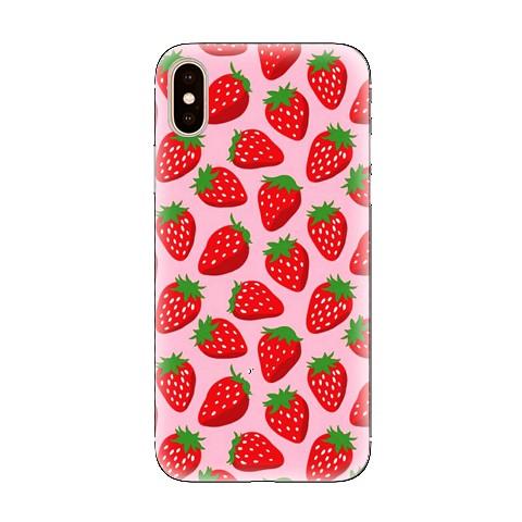 Modne etui na telefon - czerwone truskawki.