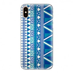 Modne etui na telefon - niebieski wzór aztecki.