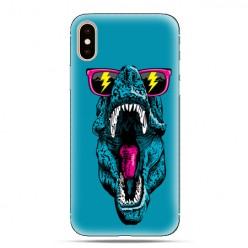 Modne etui na telefon - dinozaur w okularach.