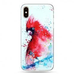 Modne etui na telefon - czerwona papuga watercolor.