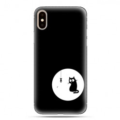Modne etui na telefon - czarny kotek.