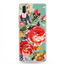 Huawei P20 - silikonowe etui na telefon - Kolorowe róże.