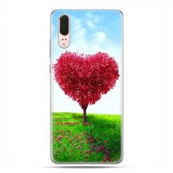 Huawei P20 - silikonowe etui na telefon - Serce z drzewa.