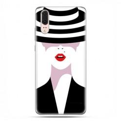 Huawei P20 - silikonowe etui na telefon - Kobieta w kapeluszu.