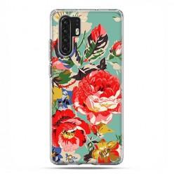 Huawei P30 Pro - silikonowe etui na telefon - Kolorowe róże.