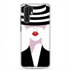 Huawei P30 Pro - silikonowe etui na telefon - Kobieta w kapeluszu.