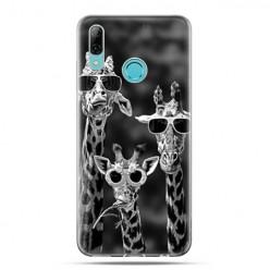 Huawei P Smart 2019 - silikonowe etui na telefon - Żyrafy w okularach