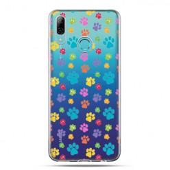 Huawei P Smart 2019 - silikonowe etui na telefon - Kolorowe psie łapki