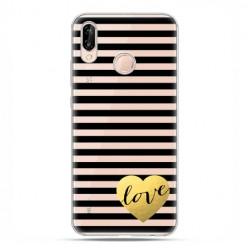 Huawei P20 Lite - etui nakładka na telefon Złote serduszko Love.