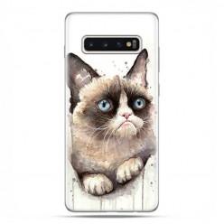 Samsung Galaxy S10 - etui na telefon z grafiką - Kot zrzęda watercolor.