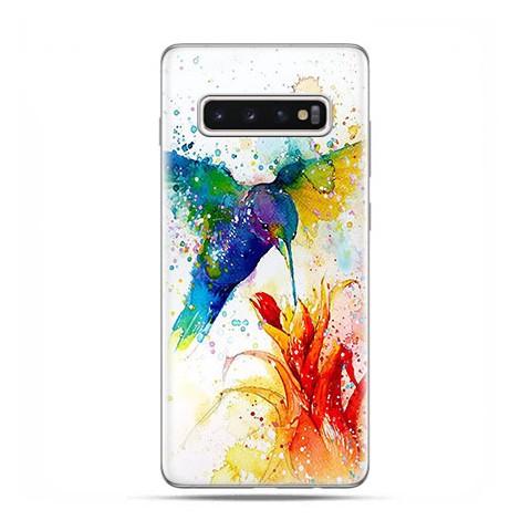 Samsung Galaxy S10 - etui na telefon z grafiką - Niebieski koliber watercolor.