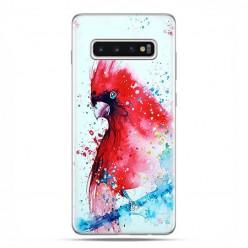 Samsung Galaxy S10 - etui na telefon z grafiką - Czerwona papuga watercolor.