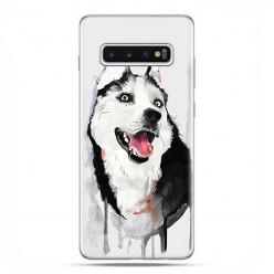 Samsung Galaxy S10 - etui na telefon z grafiką - Pies Husky watercolor.
