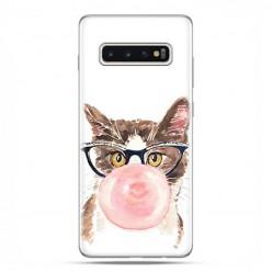 Samsung Galaxy S10 - etui na telefon z grafiką - Kot z gumą balonową.