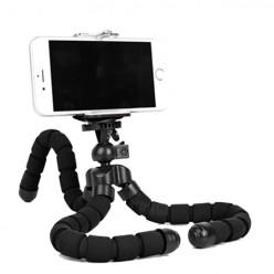 Mini statyw do telefonu elastyczny tripod - czarny