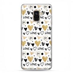Samsung Galaxy A8 2018 - etui na telefon z grafiką - Serduszka Love.