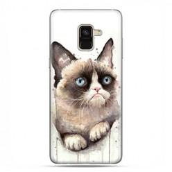 Samsung Galaxy A8 2018 - etui na telefon z grafiką - Kot zrzęda watercolor.