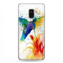 Samsung Galaxy A8 2018 - etui na telefon z grafiką - Niebieski koliber watercolor.