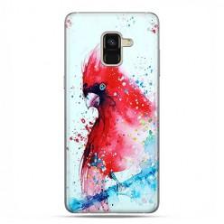 Samsung Galaxy A8 2018 - etui na telefon z grafiką - Czerwona papuga watercolor.