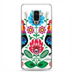 Samsung Galaxy A8 2018 - etui na telefon z grafiką - Łowickie wzory kwiaty.
